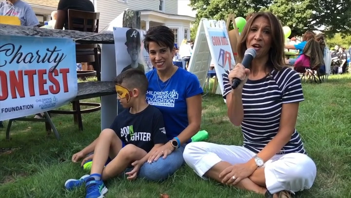 Community Karen visits the 5th annual pie eating contest at Leo's Restaurant to raise money for the Children's Tumor Foundation.  Meet 6 year old Alex, the inspiration and guest of honor.