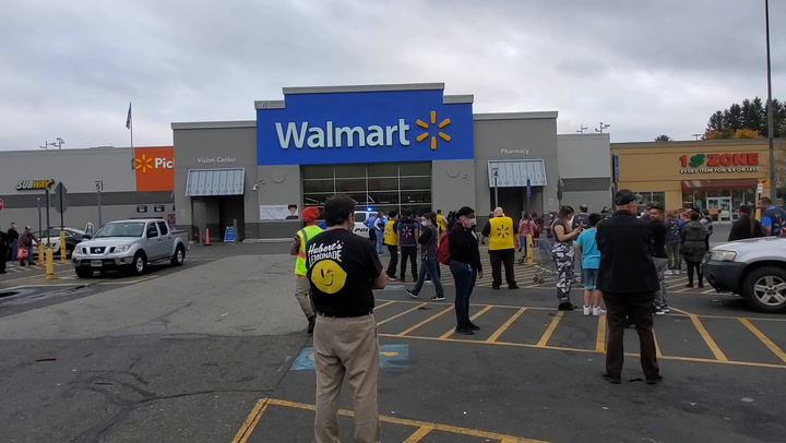 Video of Walmart parking lot following evacuation